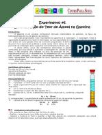 1 Técnicas de Química Experimental Experimento 6 - Teor de Álcool Na Gasolina 2013