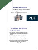 Transformer Specifications