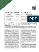 Información económica sobre Palma e Industria del espino del Grupo Romero