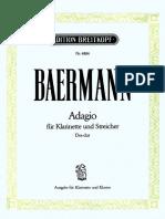 BAERMANN, Adagio für Klarinette und Streicher Des-dur (und Klavier)