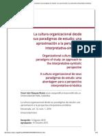 La cultura organizacional desde sus paradigmas de estudio