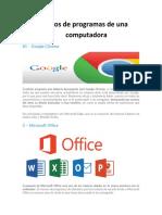 Tipos de programas de una computadora