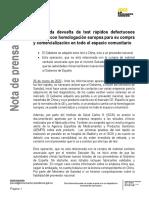 Comunicado de Presidencia del Gobierno sobre los tests rápidos de coronavirus defectuosos