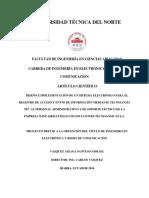 DISEÑO E IMPLEMENTACION DE UN SISTEMA ELECTRONICO PAR EL REGISTRO DE ACCESO Y ENVIO DE INFORMACION MEDIANTE TECNOLOGIA NFC AL PERSONAL ADMINISTRATIVO Y SOPORTE