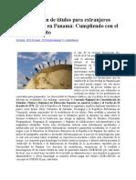 Homologación de títulos para extranjeros profesionales en Panamá
