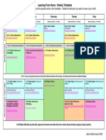Learning from home Timetable for Parents.