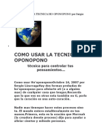COMO USAR LA TECNICA HO OPONOPONO por Sergio Lizarraga