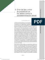 Mañalich, Erro de tipo y error de prohibición en los delitos contra la autodeterminación sexual