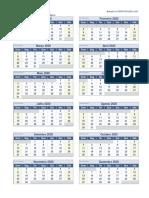 Calendario 2020 Uma Pagina