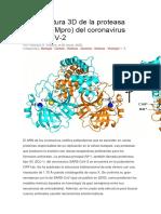 La estructura 3D de la proteasa principal del coronavirus