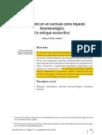ARTICULO LA FORMACION EN UN CURRICULO COMO TRAYECTO FENOMENOLOGICO