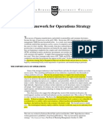 Framework for Operation Strategy