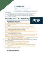 activités réglementées au maroc