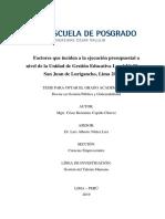 Cèsar H. Capillo Ch. - Tesis de doctorado UCV - Factores que inciden a la ejecuciòn presupuestal a nivel de la UGEL Nª 05, SJL, Lima 2017