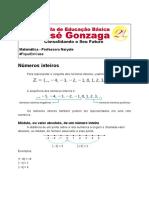 Revisão sobre de números inteiros