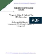HCL Infosystem - Corporate Selling & Feedback - MBA Marketing Summer Internship Project Repor..