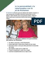 Cambios en la personalidad y la conducta relacionados con la enfermedad de Alzheimer