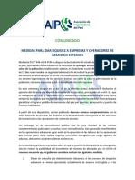 Comunicado - Medidas Para Dar Liquidez a Empresas y Operadores de Comercio Exterior