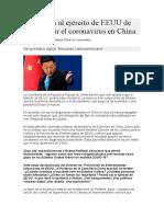 Acusan al ejército de EEUU de introducir el coronavirus en China