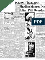 Marilyn Monroe Death- Newspaper article Aug 6 1962
