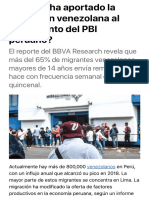 ¿Cuánto ha aportado la migración venezolana al crecimiento del PBI peruano? Economía | Peru21