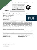 Critical incident analysis through narrative reflective practice