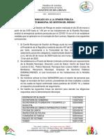 Comunicado de Gestión Del Riesgo Municipal