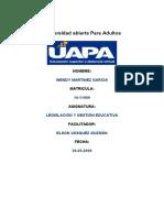 TAREA 3 DE LEGISLACION Y GESTION EDUCATIVA DE WENDY MARTINEZ