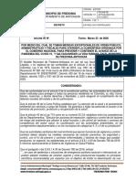 Decreto sobre medidas para COVID-19