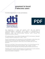 DTI – NTC agreement to boost protection of telecoms users