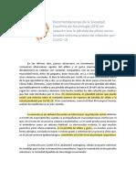 Recomendaciones de la Sociedad Española de Neurología (SEN) en relación con la pérdida de olfato como posible síntoma precoz de infección por CoVID-19 (2)