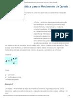 Equação Matemática para o Movimento de Queda Livre - Mundo Educação