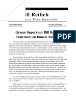 Greece Supervisor Bill Reilich Statement on Inmate Release