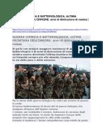 GUERRA CHIMICA E BATTERIOLOGICA, ULTIMA FRONTIERA DELL'ORRORE- armi di distruzione di massa