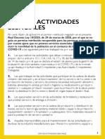 Llista d'activitats essencials durant el confinament total
