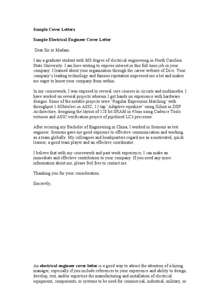 Sample cover letters rsum engineer madrichimfo Image collections