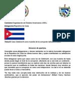 Discurso de apertura(Cuba)