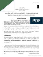 [24538035 - Lege Artis] Metafiction in contemporary English-language prose_ Narrative and stylistic aspects.pdf