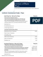 TEXAS Uniform Commercial Code - FILING FEES