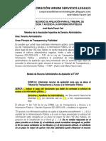 Modelo Recurso Apelación - Ttaip - Tribunal Transparencia Acceso Información Pública - Autor José María Pacori Cari