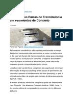 Dimensionamento de Barras de Transferência em Pavimentos de Concreto