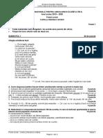En VIII Limba Romana 2020 Testul 1