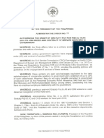 ADMINISTRATIVE ORDER NO. 20 DATED JANUARY 10, 2020
