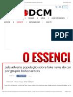 Lula adverte população sobre fake news do coronavírus espalhadas por grupos bolsonaristas