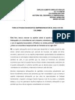 FORO ACTIVIDAD DIAGNOSTICA EMPRESARIADO EN EL SIGLO XIX EN COLOMBIA