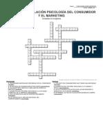 Crucigrama Relación Psicología del consumidor y el Marketing