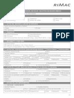 Formato de solicitud de  seguros Rimac AMI SALUD