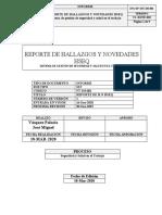 REPORTE DE HALLAZGOS Y NOVEDADES SST MARZO 2020