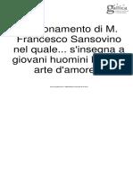 Ragionamento di M. Francesco Sansovino nel quale   la bella arte d'amore In Mantova1545