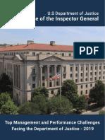 2019 OIG Top Mgmt and Performance Challenges Facing DOJ